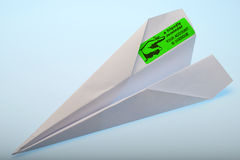 Account overdue 2. An account overdue notice sent by way of paper plane Stock Photos