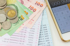 Account passbook and thai Money Stock Images