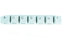 Account word written with computer buttons Stock Photo