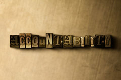 ACCOUNTABILITY - close-up of grungy vintage typeset word on metal backdrop. Royalty free stock illustration. Can be used for online banner ads and direct mail vector illustration