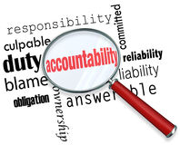 Accountability Search Find Responsibile People Credit Blame. Accountability word under a magnifying glass looking for someone to take responsibility, credit or Stock Photos