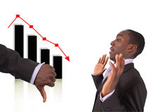 Accountable Losses. This is an image a hand with thumbs down to indicate that the businessman is responsible for the fall in the graph. Related themes Stock Stock Image