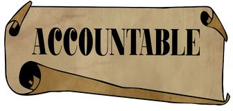 ACCOUNTABLE on old rolled paper. Illustration graphic concept image royalty free illustration