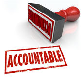 Accountable Stamp Assigning Responsibility Credit Blame. Accountable Stamp in red ink assigning credit or blame to the person or people responsible for a job royalty free illustration