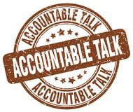 Accountable talk brown stamp. Accountable talk brown grunge round stamp isolated on white background royalty free illustration