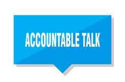 Accountable talk price tag. Accountable talk blue square price tag vector illustration