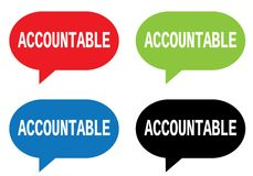 ACCOUNTABLE text, on rectangle speech bubble sign. vector illustration