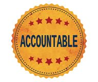 ACCOUNTABLE text, on vintage yellow sticker stamp. royalty free illustration