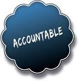 ACCOUNTABLE text written on blue round label badge. royalty free illustration