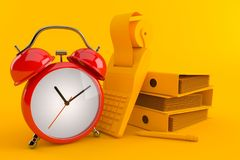 Accountancy background with alarm clock. In orange color Royalty Free Stock Photos