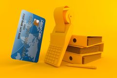 Accountancy background with credit card. In orange color Stock Image