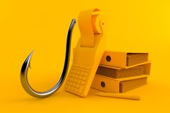 Accountancy background with fishing hook. In orange color. 3d illustration Royalty Free Stock Image