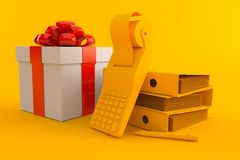 Accountancy background with gift. In orange color. 3d illustration Stock Image