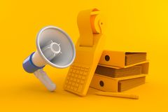 Accountancy background with megaphone. In orange color. 3d illustration Stock Photography