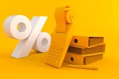 Accountancy background with percent symbol. In orange color Stock Photo