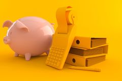 Accountancy background with piggy bank. In orange color Royalty Free Stock Image