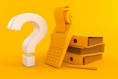 Accountancy background with question mark. In orange color. 3d illustration Royalty Free Stock Photo