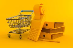 Accountancy background with shopping cart. In orange color. 3d illustration Royalty Free Stock Photos