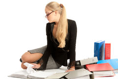 Accountant. Siting near to stack of files Stock Images