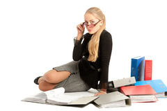 Accountant. Siting near to stack of files Royalty Free Stock Photography