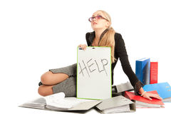 Accountant. Siting near to stack of files stock photo