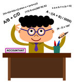 Accountant. An office worker with accountant word on his desk thinking of math formulas royalty free illustration