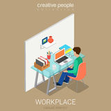 Accountant bookkeeper workplace flat vector isometric interior Royalty Free Stock Image