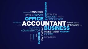 Accountant business office businessman accounting executive finance professional paperwork success calculator animated. Word cloud background in uhd 4k 3840 royalty free illustration