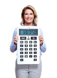 Accountant business woman with a calculator. Stock Images