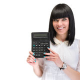 Accountant business woman with a calculator.  Over Stock Image