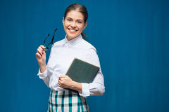 Accountant business woman wearing glasses portrait with book Royalty Free Stock Photography