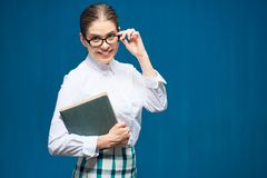 Accountant business woman wearing glasses portrait with book Royalty Free Stock Images
