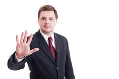 Accountant or businessman showing number five with fingers Royalty Free Stock Photography