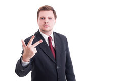 Accountant or businessman showing number three with fingers Stock Photography