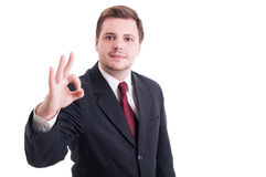 Accountant or businessman showing perfect and ok gesture Stock Image