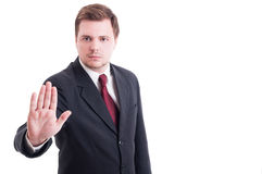 Accountant or businessman showing stop and stay gesture Royalty Free Stock Images