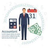 Accountant, businessman. vector. Accountant, businessman. Set icons flat design. Concept of accounting and calculation. Vector illustration. Man working with Stock Images