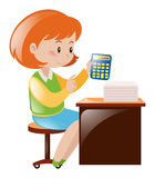 Accountant calculating numbers with calculator. Illustration Stock Photography