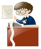 Accountant calculating numbers on desk. Illustration royalty free illustration
