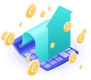 The accountant calculator, increasing arrow, euros gold rain. Flat vector isometric illustration. The finance success, money profit, online banking stock illustration