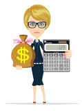 Accountant with a Calculator, Vector Illustration Stock Image