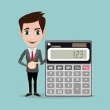 Accountant with a Calculator, Vector Illustration. Funny office worker man - Accountant or manager shows the calculator to work on the white background for use vector illustration
