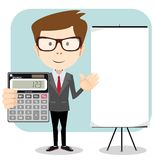 Accountant with a calculator, vector illustration Royalty Free Stock Photos