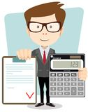Accountant with a calculator, vector illustration Royalty Free Stock Photo