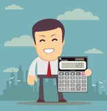 Accountant with a Calculator, Vector Illustration Stock Photography