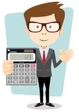 Accountant with a Calculator, Vector Illustration. Accountant shows the calculator to work. Stock Vector Illustration. Isolated on white background Royalty Free Stock Image