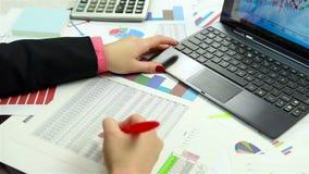 Accountant Checking Financial Repor stock footage