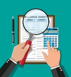 Accountant checks money balance. Accountant with report, calculator and magnifying glass checks money balance. Financial reports statement and documents stock illustration