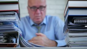 Accountant in Company Office Stay Looking Sad and Thinking Pensive.  stock footage
