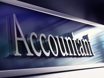 Accountant company plaque, 3d rendering Royalty Free Stock Photography